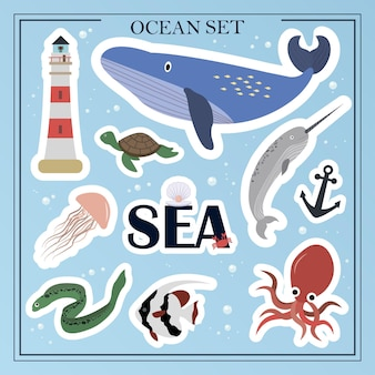 A set of flat sea animals marine life animals plants sunken objects cartoon vector illustrations