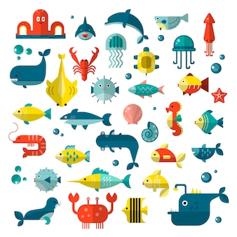Set of   flat sealife elements, plants and sea animals. collection of modern sea underwater life