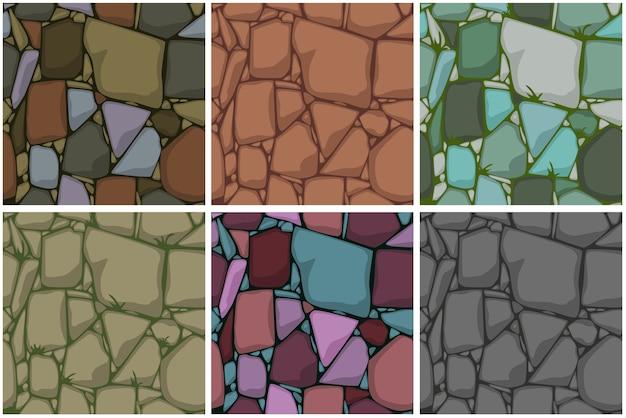Установите плоские бесшовные каменные текстуры. камни фон. мультфильм бесшовные текстуры. Premium векторы