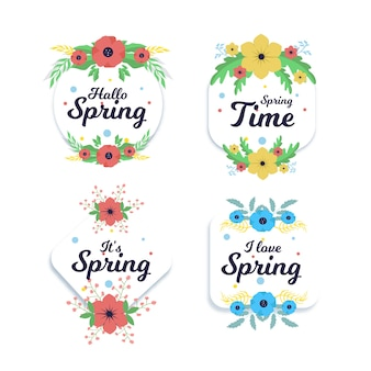 Set of flat spring badges