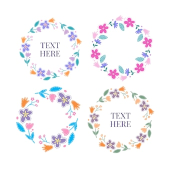 Set of flat spring flower frames