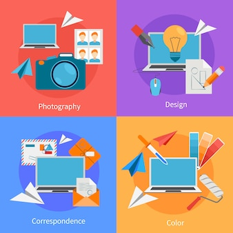 Set of flat square background design concept