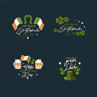 Set of flat st. patrick's day badges Free Vector