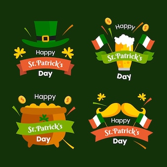 Set of flat st. patrick's day labels