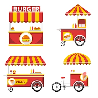 Set of flat street food stand icons and elements
