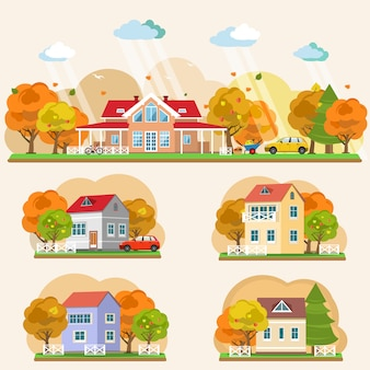 Set of flat style autumn landscapes. vector illustration