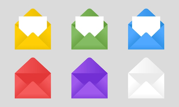 Set of flat style colored envelopes