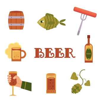 Set of flat style colorful beer related icons