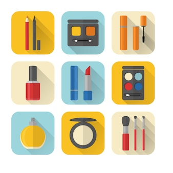 Set of flat style makeup and cosmetics icons