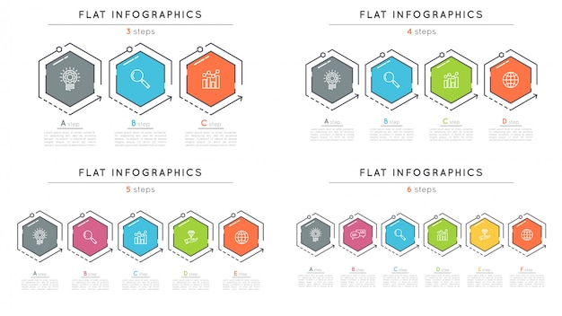 Set of flat style  steps timeline infographic templates.