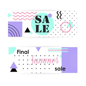 Set of flat summer banners for sale shopping discounts and greeting cards