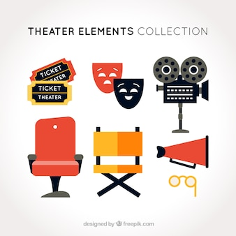 Set of flat theater objects