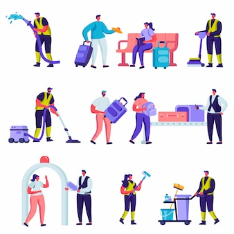 Set of flat tourists and cleaning service staff in the airport characters