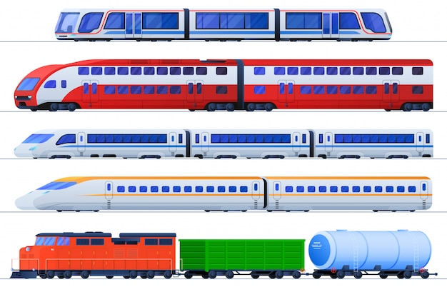 Set of flat trains