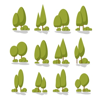 Set flat trees in a flat design