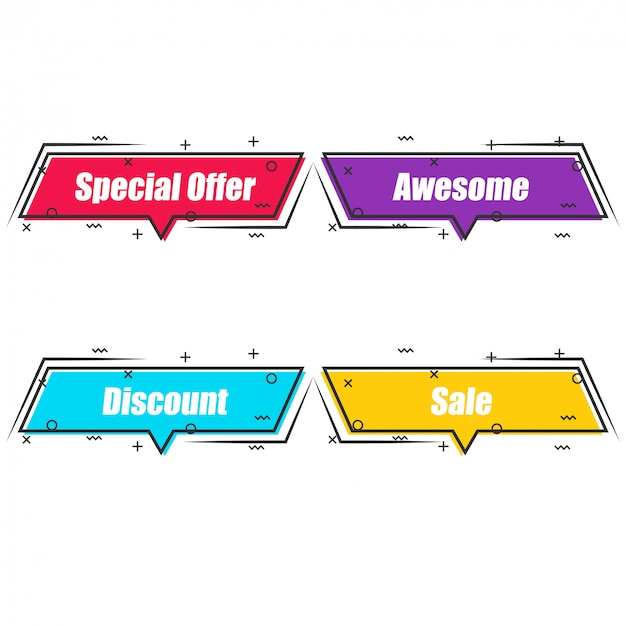 Set of flat trendy abstract banners with outline.