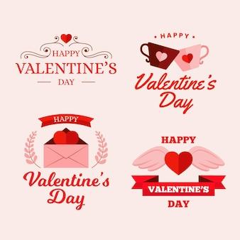 Set of flat valentine's day badges