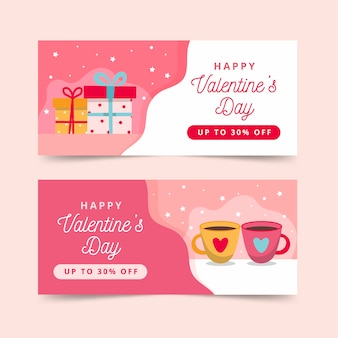 Set of flat valentine's day banners