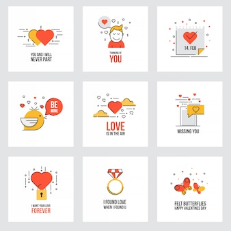 Set of flat valentine's day cards