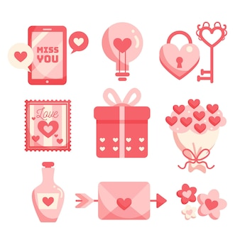 Set of flat valentine's day elements