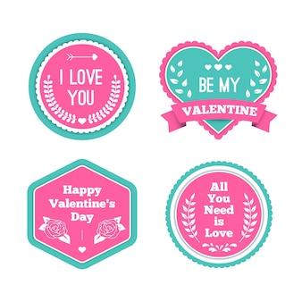 Set of flat valentine's day label/badge