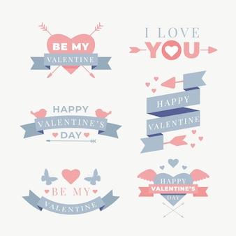 Set di etichette piatte di san valentino