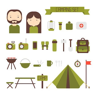 Set of flat vector camping equipment symbols and icons