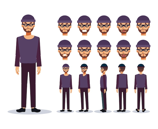Set of flat vector character illustration, a man is a thief bad guy , various views, cartoon style.