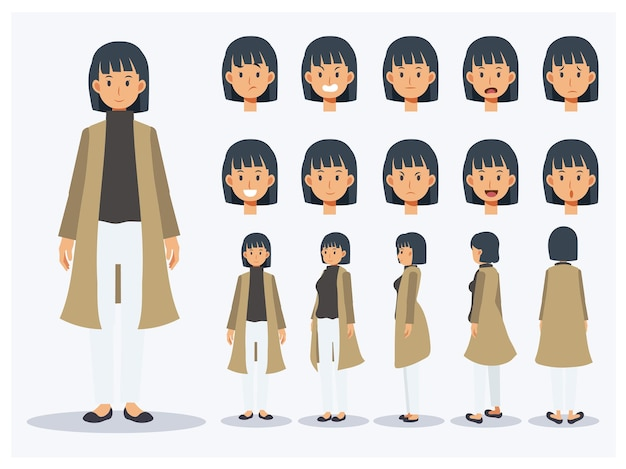 Set of flat vector character woman wear casual clothing with various views, cartoon style.