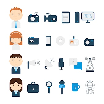 Set of flat vector journalism icons