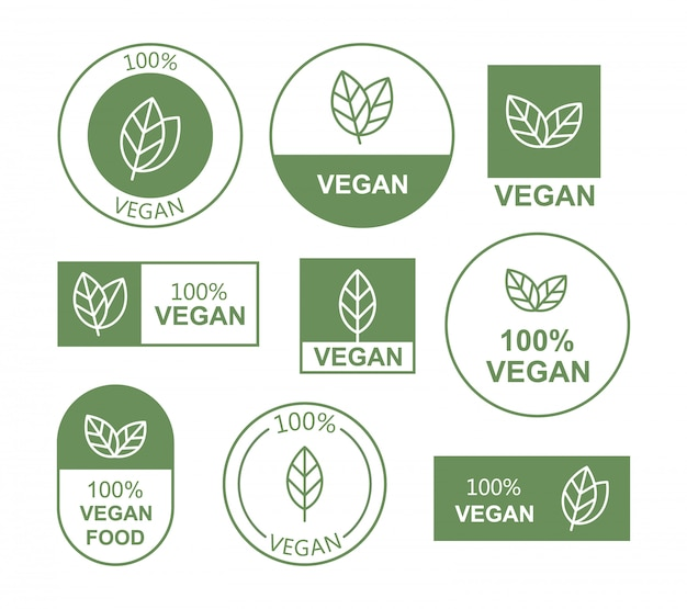 Set flat vegan icon on white background. bio, ecology, organic logos and badges.