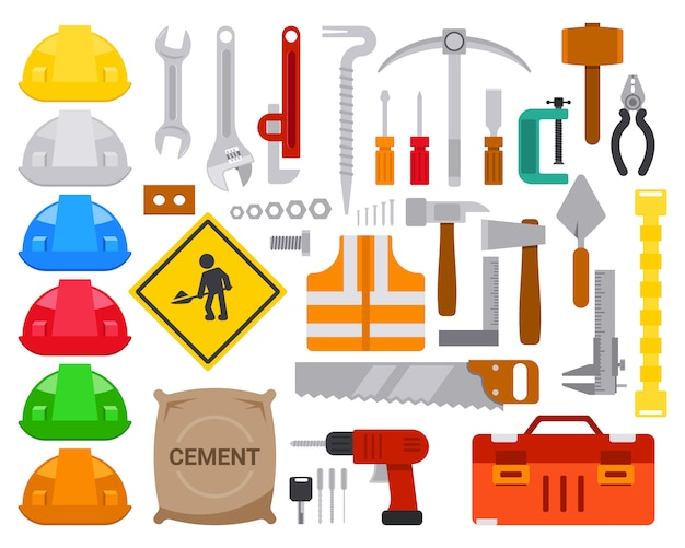 Set of flat worker tools element design vector