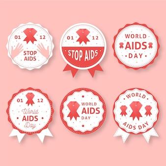 Set of flat world aids day badges