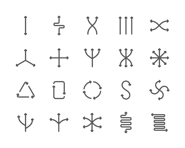 Set of flexibility line icons. different directions, reset, arrows and more.