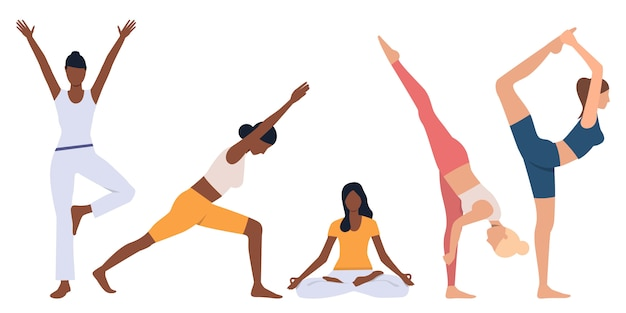 Set of flexible women practicing yoga
