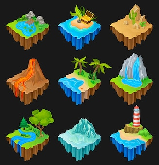 Set of floating platforms with different landscapes. volcano with flowing lava, desert with cactuses, waterfall, island with lighthouse.