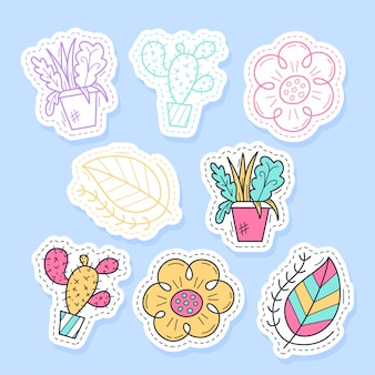Set of flora plant stickers handwritten collection in cartoon style.