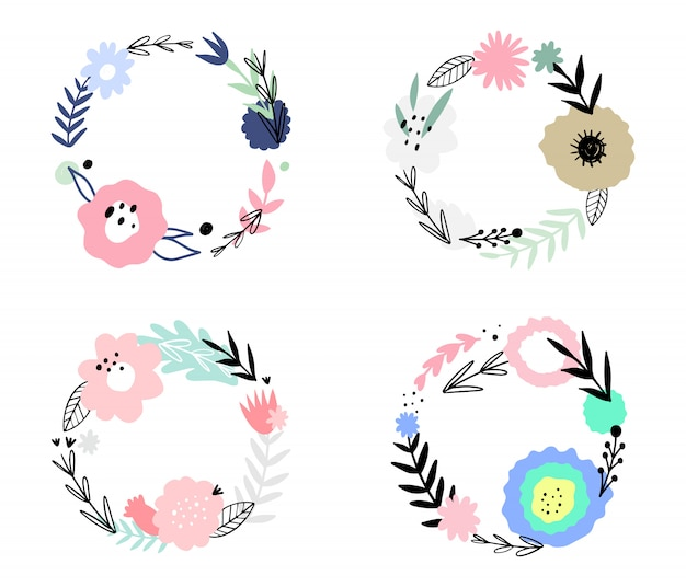 Set of floral abstract frames. hand drawn, doodle plants