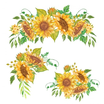 Set of floral arrangement watercolor sunflower yellow