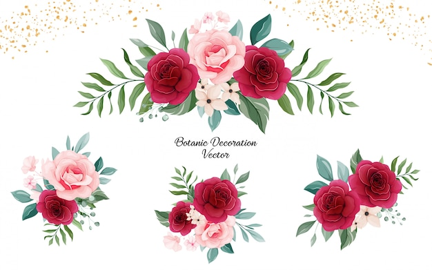 Set of floral arrangements of peach and burgundy rose flowers and leaves.