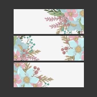 Set of floral banner