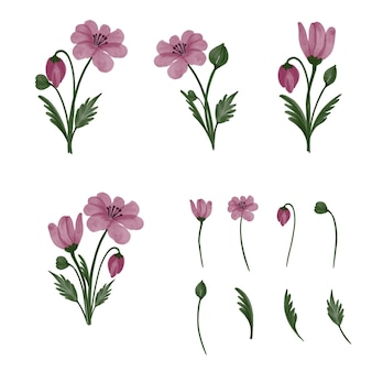Set of floral branch pink flower green leaves pink simple bouquet