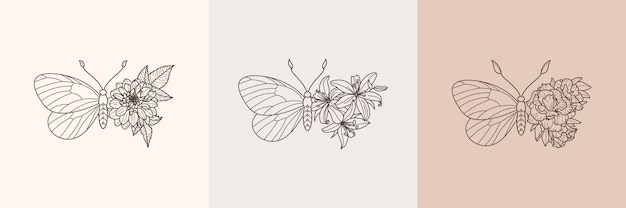 Set of floral butterfly icon in a linear minimalist trendy style. vector outline emblem of wings with flowers for creating logos of beauty salons, t-shirt print, wall art, postcard