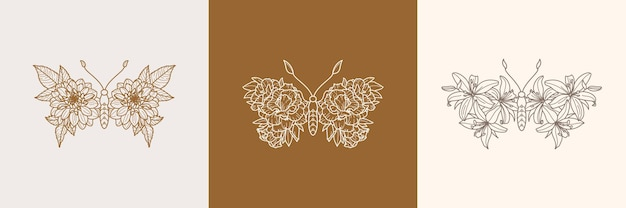 Set of floral butterfly icon in a linear minimalist trendy style. vector outline emblem of wings with flowers