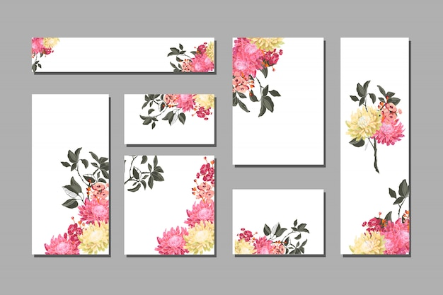 Set of floral cards with pink flowers with branches and leaves.