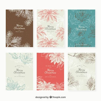 Set of floral christmas cards