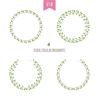 Set of floral circular frame with green leaves