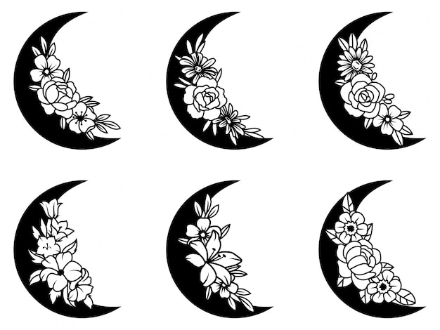 Set of floral crescent moon. collection of silhouettes of the young month with floral wreath.