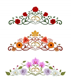 Set of floral decorations with gold wedding rings