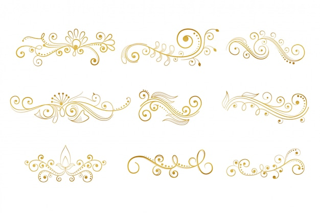Set of floral decorative elements in gold color